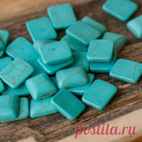 Кабошон бирюза синтетическая, прямоугольный, цвет античный голубой, 12x10x4 мм :: Crystal's - интернет-магазин бусин и фурнитуры