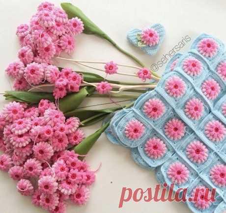 Милые цветочные мотивы крючком: Схема и мастер-класс! Милые цветочные мотивы крючком. Каждый цветочный мотив вяжется отдельно, из которых получаются...