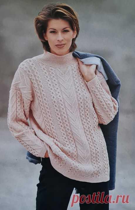 Весенний пуловер с вертикальными узорами | Рукоделие | Яндекс Дзен