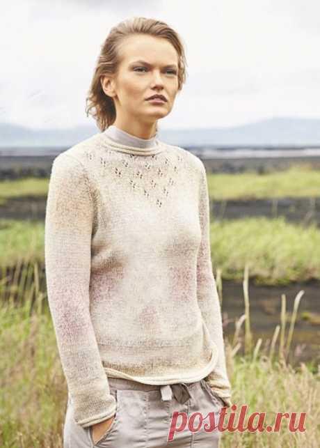 Как связать Женский пуловер со сквозной отделкой