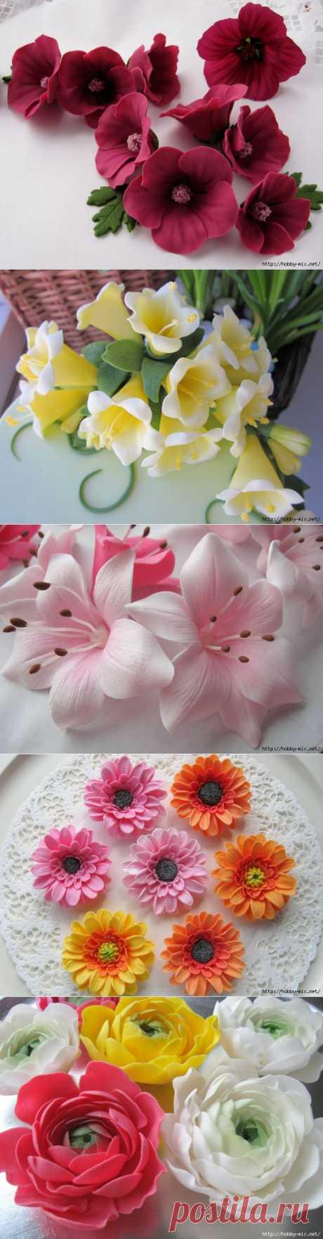 Лепка. Шикарные цветы из сахарной мастики для украшения тортов. Фото мастер- классы- много..