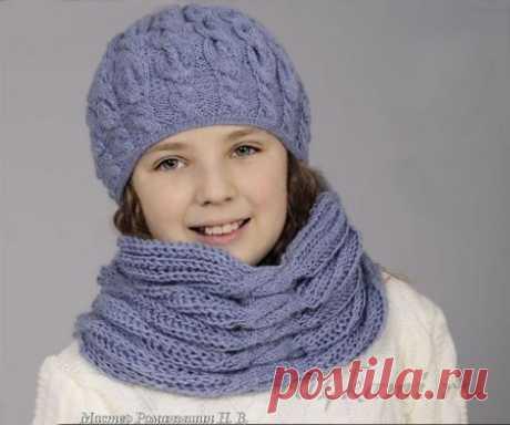 """Шапка спицами для девочки и шарф » Сайт """"Ручками"""" - делаем вещи своими руками"""