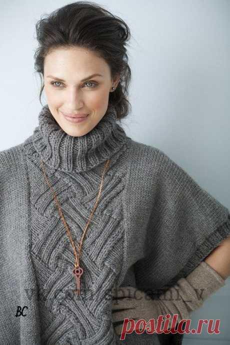 Пуловер-пончо с центральным рисунком — DIYIdeas