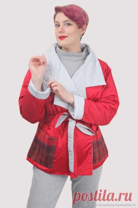 Куртка красная осенняя короткая под пояс плюссайз оверсайз – купить на Ярмарке Мастеров – LPKP2RU | Куртки, Москва