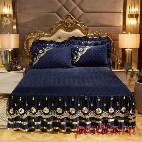 3 шт., 120x200 см/150X200 см/180x200 см/200x220 см, стеганая флисовая ткань, кружевная кромка, покрывало для кровати, комплект, наматрасник, накидка для матраса Покрывало    АлиЭкспресс