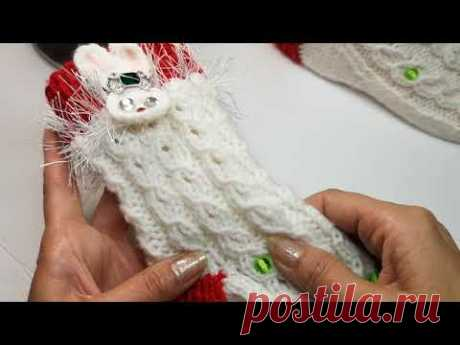 №139 Ажурная резинка по кругу спицами   Для вязания носков, перчакок, митенок