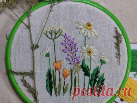 Вышиваем полевые цветы гладью: урок для начинающих  Ярмарки Мастеров