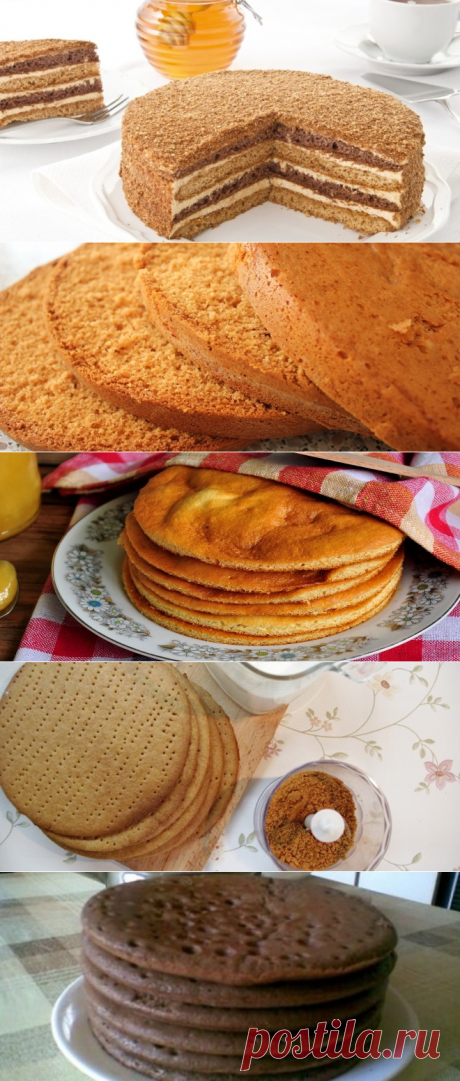 Recipes of honey cake layers for cakes