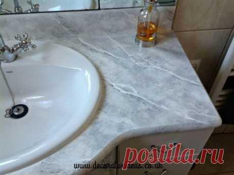 Как сделать искусственный мрамор для вашей ванной комнаты? Hometalk