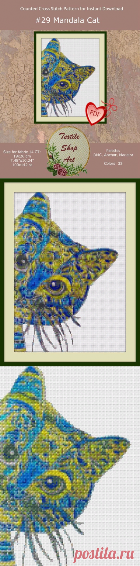 Mandala Cat Modern Cross Stitch Pattern Cross Stitch Design | Etsy