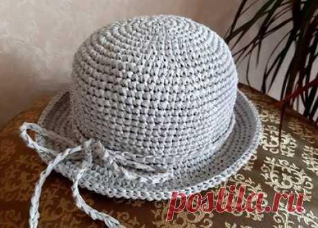 Детская шляпка панамка вязаная крючком из рафии - первый раз вяжу из рафии