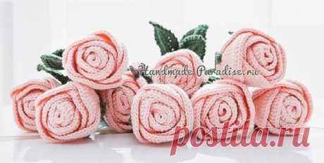 Самые красивые розы крючком. Схемы    Для создания цветов вам понадобится крючок для вязания, подходящая пряжа, проволока для стебельков, нитки с иголкой, термопистолет с горячим клеем и флористическая тейп лента зеленого цвета.    Схемы вязания лепестков розочки — два размера. Вязание лепестков начинается с центра, со скользящей петли амигуруми. Далее вяжем по схеме:    Схемы вязания серединки и чашелистика:    Схема вязания листика розочки (работа начинается с вязания це...