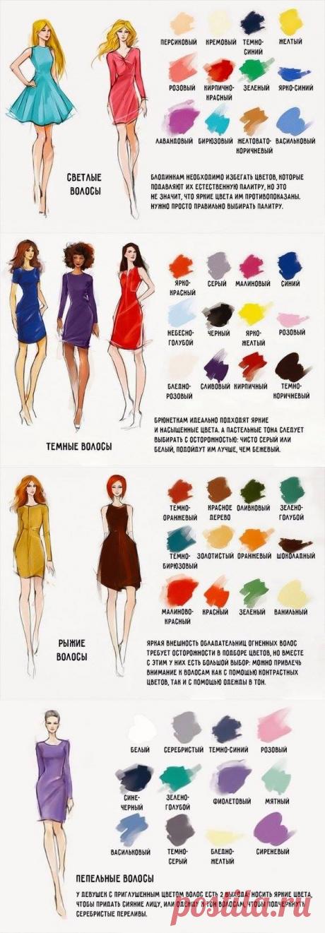 ¡La chuleta para todas las mujeres! ¡La combinación ideal del color de la ropa y el cabello! — los consejos útiles