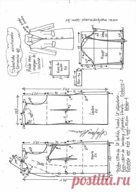Пальто пальто пошив одежды | DIY прессформа, вырезывание и шить - Марлен Mukai