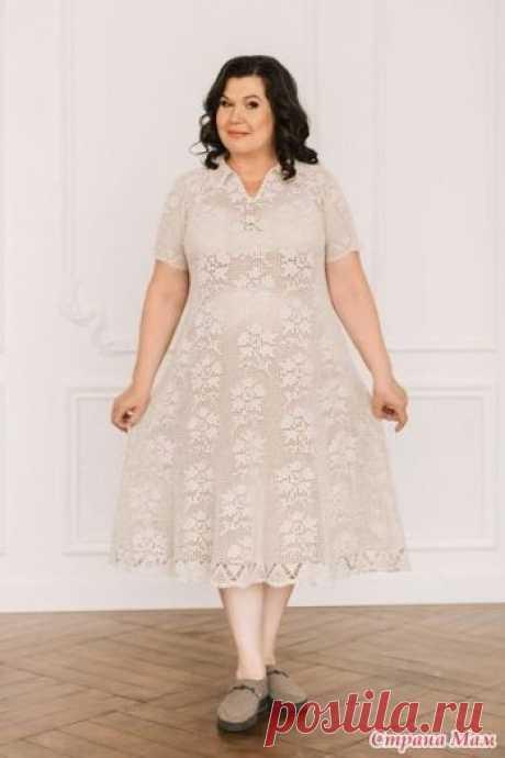Женское платье из льна крючком Всем доброго здоровья. Хочу показать свое платье из льна и хлопка. Платье Лён. Пряжа Кудельница. в 100г/500м Кр 1.5, 1.75. Расход 800г, размер 58-60. Автор