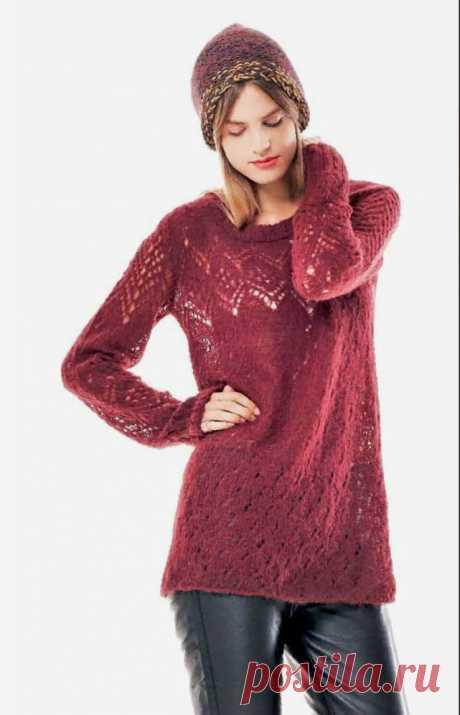 Ажурный пуловер спицами с свободного силуэта - Портал рукоделия и моды