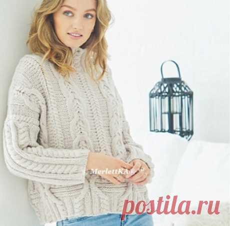 Вязание спицами для женщин - Кашемировый пуловер оверсайз