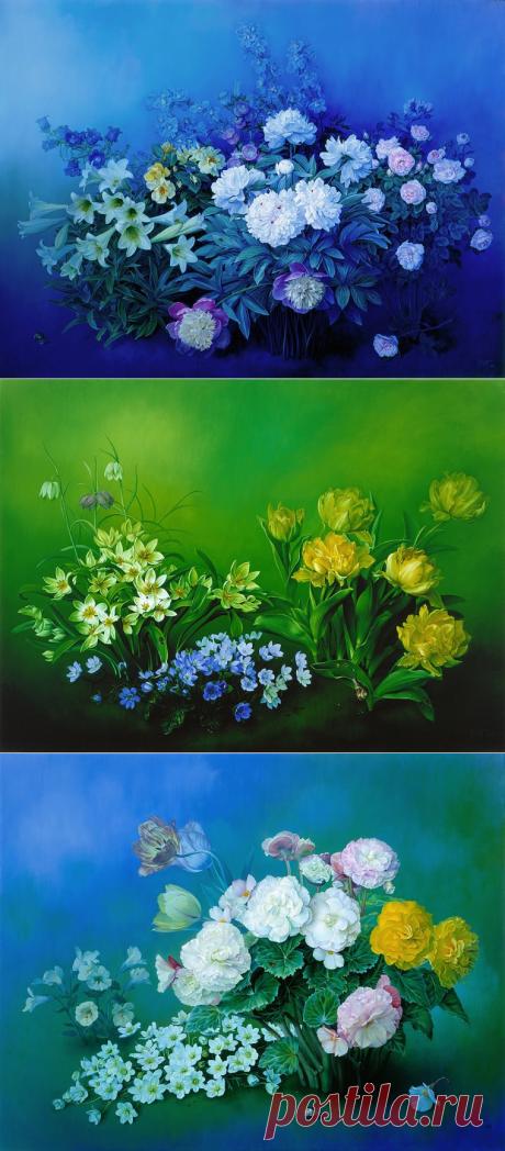 Художник Jose Escofet и его цветочная живопись