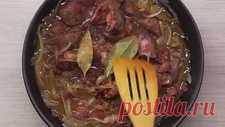 Куриная печень по-болгарски на сковороде