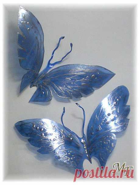 Бабочки и листики из пластиковых бутылок