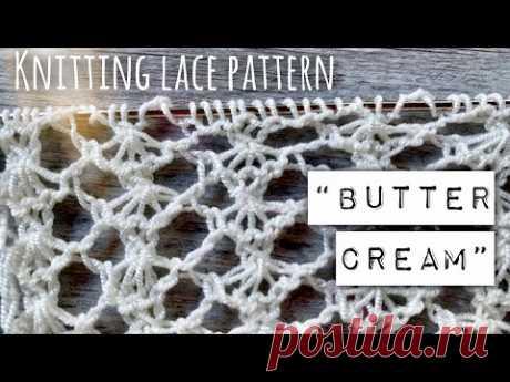 Узор СПИЦАМИ «Сливочный крем» / 💝 Розыгрыш пряжи! / Knitting lace pattern