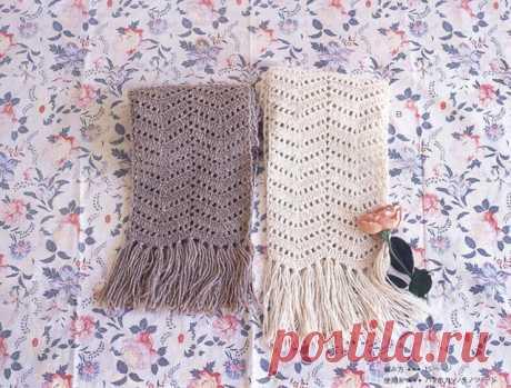 Женские шарфы зигзагообразным узором крючком – 5 схем узоров с описанием и МК видео