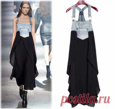 Сарафан из комбеза и юбки Модная одежда и дизайн интерьера своими руками