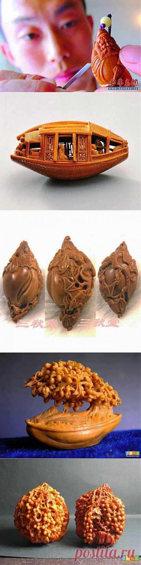 Искусство хайдао родилось в Китае в период династии Сун (960-1279 гг.) оно представляет собой мастерство создания великолепных украшений, филигранных миниатюр из обычных фруктовых косточек.