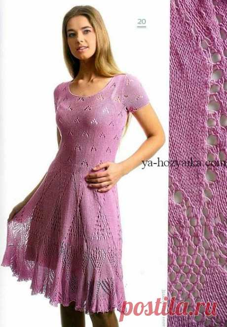 Платье с ажурной юбкой. Вязаное летнее платье спицами с описанием