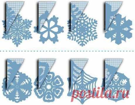 Снежинки из бумаги. схемы. — Поделки с детьми