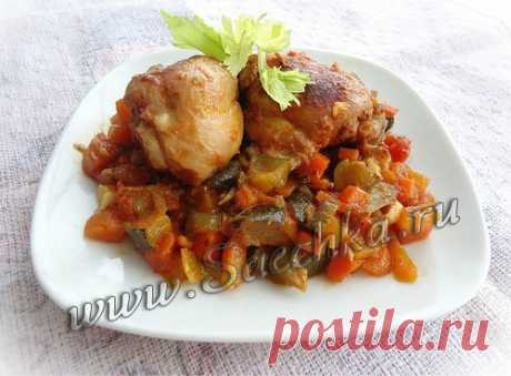 Курица в томатном соусе с чесноком - рецепт с фото