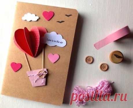 Очаровательная открытка с воздушными шарами из сердечек — Поделки с детьми