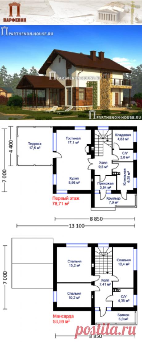 Проект небольшого двухэтажного дома из газобетона ЯК 100-8-4  Площадь застройки: 80,00 кв.м. Площадь общая помещений: 100,80 кв.м. Площадь жилая: 53,00 кв.м. Площадь крыльца и террасы: 25,50 кв.м. Строительный объем: 900,00 куб.м. Высота 1 этажа: 2,810 м. Высота 2 этажа: 2,565 м. Высота дома в коньке от уровня земли: 8,390 м.   Комната на 1 этаже: да. Тех. помещение-котельная: да. Кладовая: да. Камин: да.   Технология и конструкция: Строительство дома из газобетона.