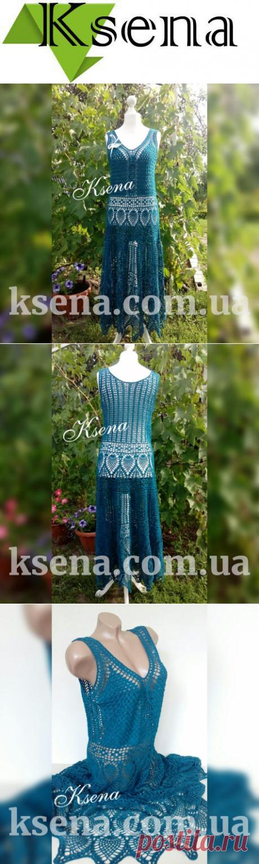 купить платье крючком - платье крючком - женское вязаное платье - Ksena