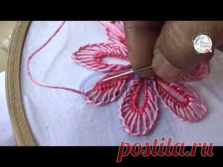 Hand Embroidery Buttonhole & Net Stitch Flowers Design # 23) by MaaCreative - YouTube Ручная вышивка, петля и сетка с цветочным дизайном # 23) от MaaCreative