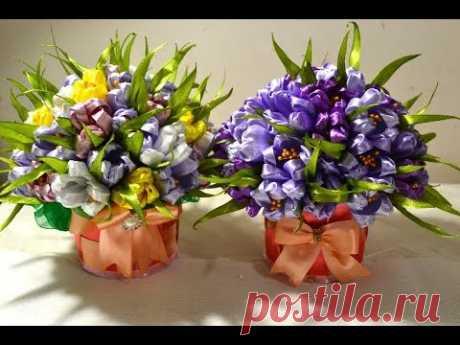 \ud83c\udf3c the Gift pot with crocuses \/ \ud83c\udf3c Crocuses of Ribbons\/Gift\/Tutorial