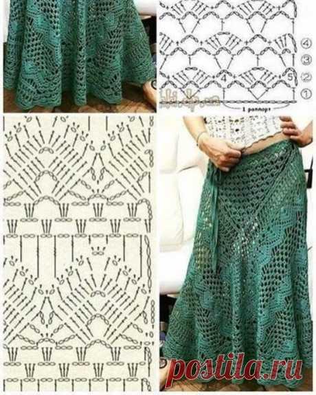 Схема узора вязания крючком для юбки