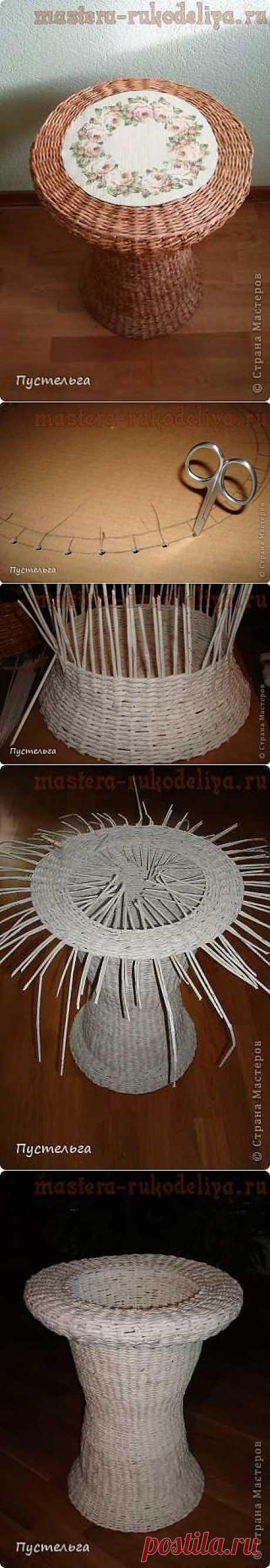 Мастера рукоделия - рукоделие для дома. Бесплатные мастер-классы, фото и видео уроки - Мастер-класс по плетению из газет: Столик для вязания