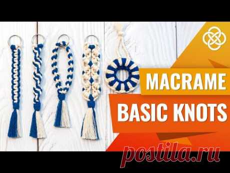 MACRAME BASIC KNOTS | Square Knot, Spiral Knot, Double Half Hitch Knot, Larks Head Knot - YouTube
