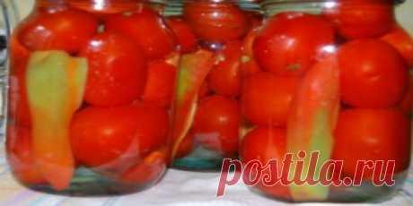 Упругие сладкие помидорки по-новому! Хит лета! Ингредиенты  2 кг помидор одного габарита 20 г чеснока измельченного 2 ложки соли 2,5 г перца молотого 3 ложки сахара 3 ложки уксуса 2 шт. лавра 10 шт. перца круглого 1 большой лук 1
