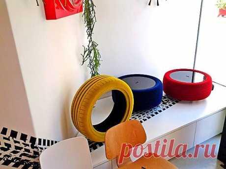 Мебель из старых шин. Дизайн-проект Tavomatico от Giacomo Mondini.