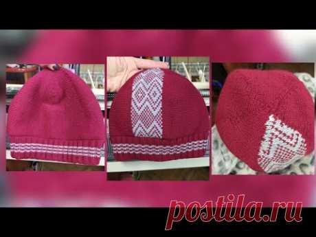 Классическая двойная шапка поперечным вязанием на одной фонтуре - YouTube
