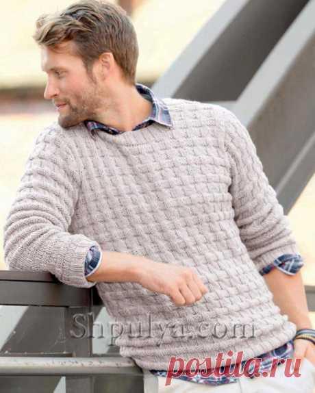 Бежевый мужской пуловер спицами - SHPULYA.com
