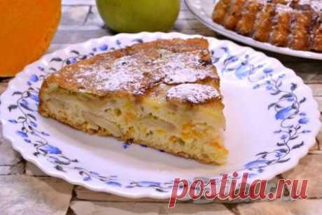 Шарлотка с тыквой и яблоками в духовке - пошаговый фоторецепт