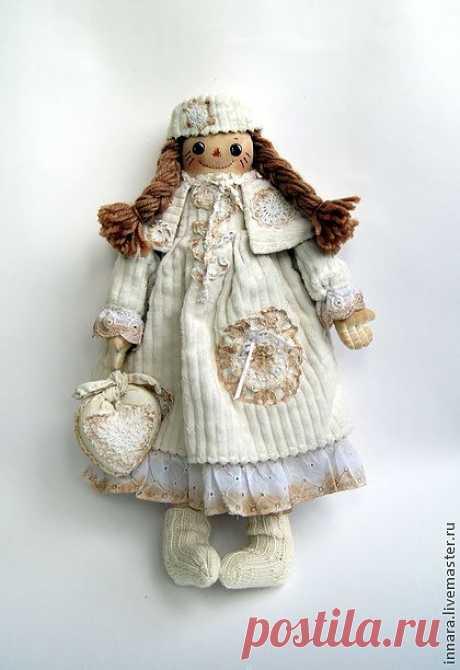 Тряпичная кукла Снежная - белый,тряпичная кукла,тряпичная игрушка,натуральные материалы