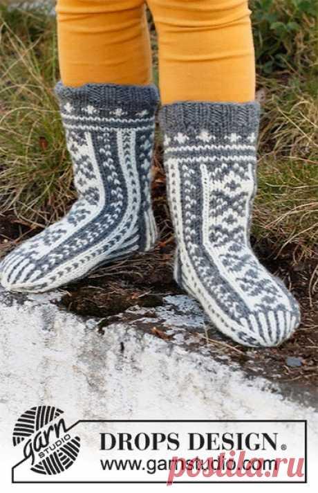 Детские носки со скандинавским узором