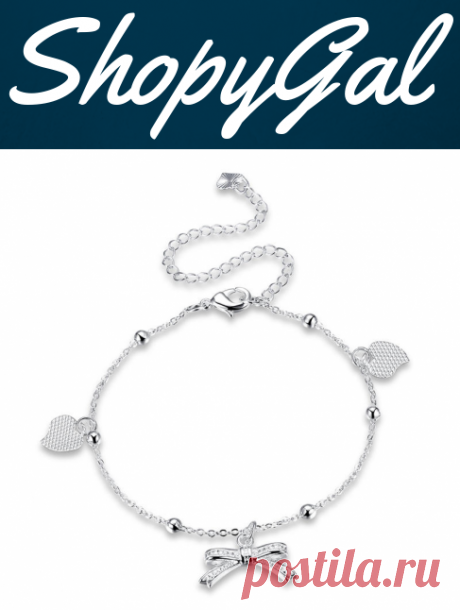 YUEYIN 925 Silver Plated Anklet Bracelet Sweet Heart Bowknot Pendant Sandal Foot Chain | ShopyGal.com