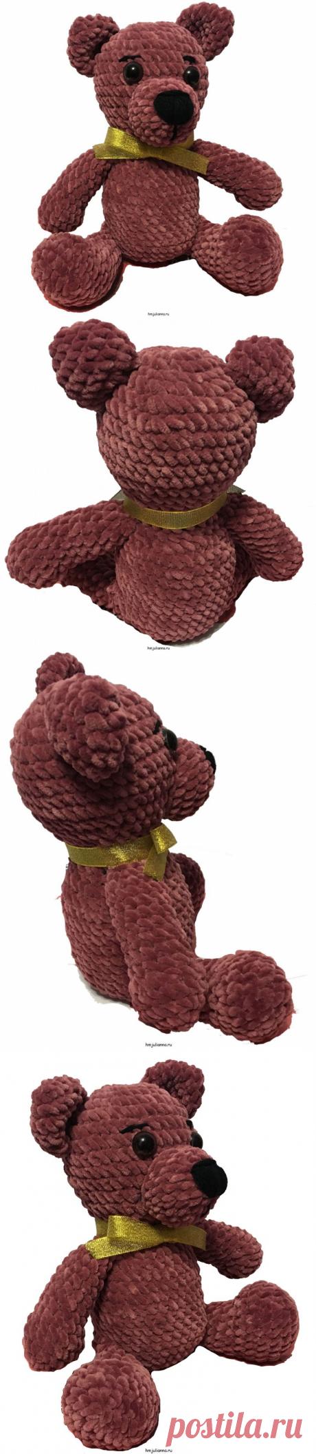 Плюшевый, сидячий медведь с золотистой бабочкой мягкая игрушкаМастерская рукоделия Анны Ганоцкой