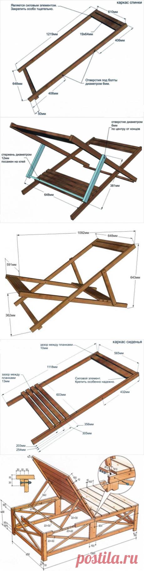 Шезлонги и лежаки для дачи своими руками - фото примеров