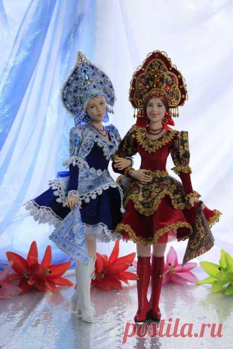 Куклы Аленушки гжель и хохлома (фотографии в дополнение к работе) - Ярмарка Мастеров - ручная работа, handmade